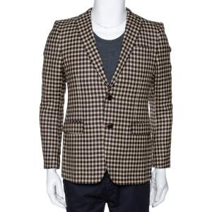 Etro Brown & Beige Gingham Check Wool Two Buttoned Jacket S