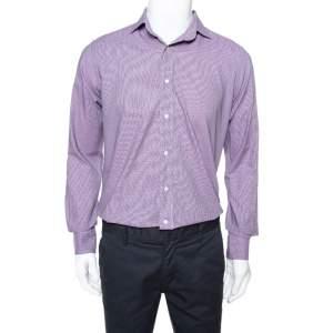 Etro Purple Houndstooth Pattern Cotton Long Sleeve Shirt M
