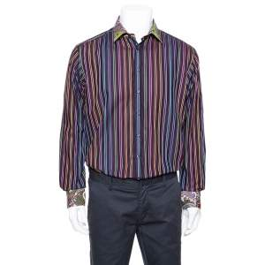 Etro Purple Striped Cotton Printed Collar Long Sleeve Shirt XL