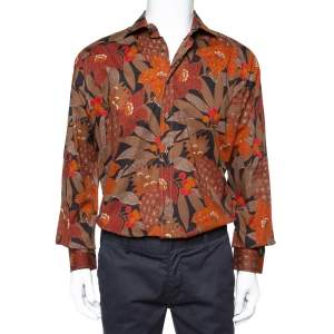 Etro Brown Cotton Abstract Floral Print Button Front Shirt XL