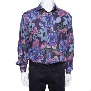 Etro Blue Floral Printed Linen Button Front Shirt XXL