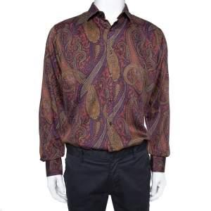 Etro Purple Paisley Printed Cotton Button Front Shirt XXL