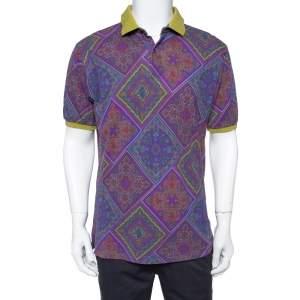 Etro Purple Paisley Print Cotton Contrast Collar Polo Shirt XL