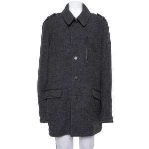 Etro Dark Grey Wool Mid-Length Coat XL