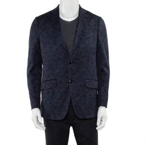Etro Navy Blue Paisley Jacquard Knit Button Front Blazer L
