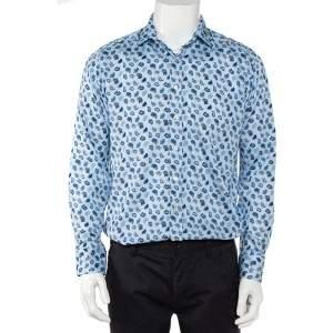 Etro Blue Paisley Printed Cotton Button Front Shirt L