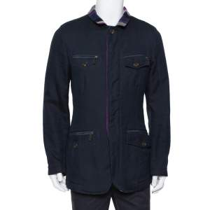 Etro Navy Blue Cotton & Striped Wool Lined Zip Front Jacket M