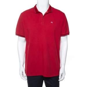 Etro Burgundy Cotton Pique Polo T-Shirt XXL