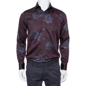 Etro Burgundy Printed Cotton Button Front Shirt M