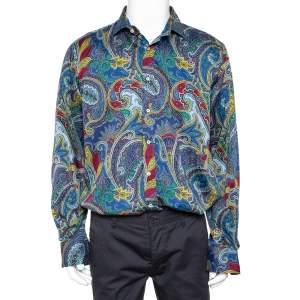 قميص إيترو قطن طباعة بيزلي أزرق بأزرار أمامية مقاس كبير جدًا جدًا - إكس إكس لارج