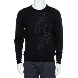 Etro Black Wool Paisley Embroidered Jumper XL