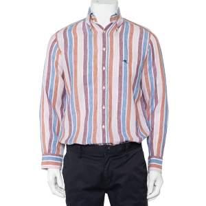 قميص إيترو كتان مخطط متعدد الألوان بأزرار أمامية مقاس صغير - سمول