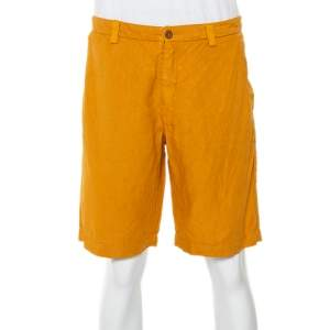 Etro Mustard Yellow Linen & Cotton Bermuda Shorts L