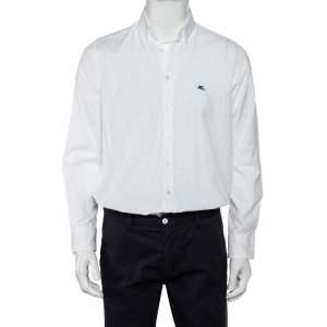 قميص ايترو أزرار أمامية قطن مطبوع بايزلي أبيض مقاس كبير (لارج)