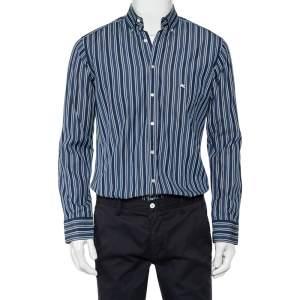 قميص إيترو قطن أزرق مخطط بأزرار أمامية مقاس صغير - سمول