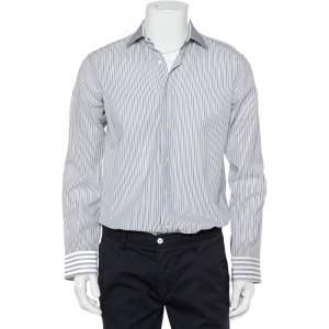 قميص إيترو سليم قطن مخطط أزرق كحلي وأبيض بأزرار أمامية مقاس متوسط - ميديوم