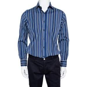 قميص إيترو قطن أزرق مخطط بأزرار أمامية مقاس متوسط - ميديوم