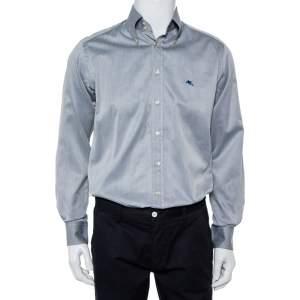 قميص إيترو قطن رصاصي بالشعار مطرز بأزرار أمامية مقاس متوسط - ميديوم