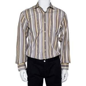 قميص إيترو قطن مخطط أزرق كحلي وأصفر بأزرار أمامية مقاس صغير - سمول