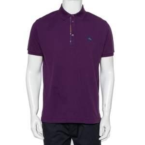 Etro Purple Cotton Pique Polo T-Shirt XL