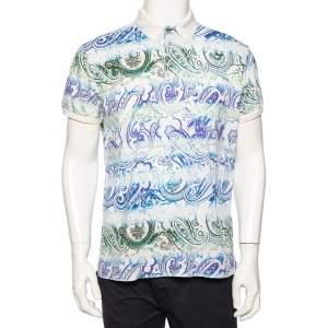 Etro White Paisley Printed Cotton Pique Polo T-Shirt L