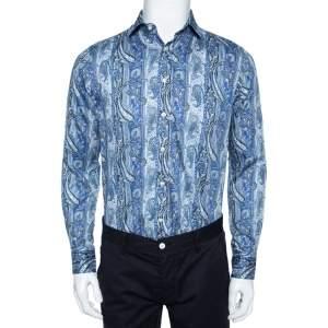 Etro Blue Paisley Printed Cotton Button Front Shirt M