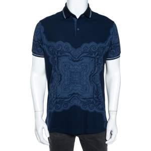 Etro Navy Blue Cotton Baroque Print Polo T-Shirt XL