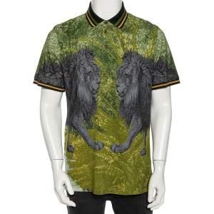 Etro Grey & Green Cotton Pique Lion Print Polo T Shirt L