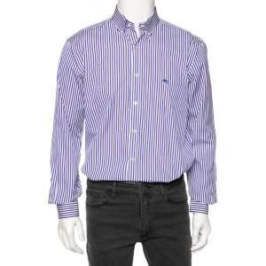 Etro Ink Blue Striped Cotton Button Down Shirt L