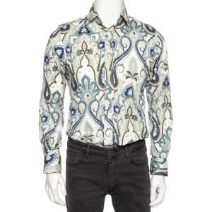 Etro Multicolored Paisley Print Cotton Button Front Shirt M