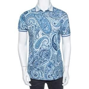 Etro Blue Paisley Printed Cotton Pique Polo T-Shirt L
