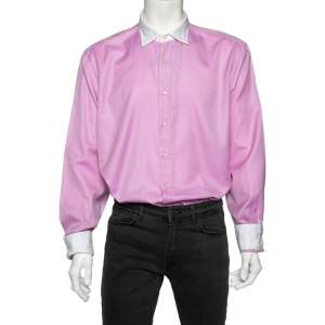 Etro Pink Cotton Contrast Detail Button Front Shirt 4XL