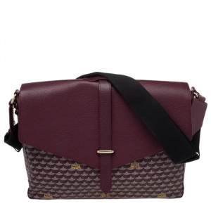 Faure Le Page Burgundy Coated Canvas And Leather Express 36 Messenger Bag
