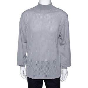 Fear of God Fifth Collection Grey Perforated Knit Long Sleeve T Shirt M
