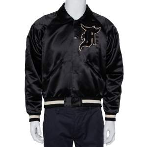 Fear of God Fifth Collection Black Satin Manuel Applique Detail Bomber Jacket S