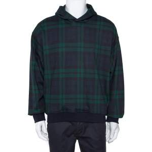 Fear Of God Fifth Collection Green Plaid Print Cotton Hoodie M