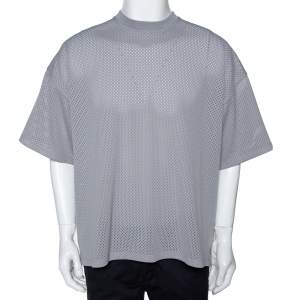 Fear of God Fifth Collection Grey Perforated Knit Oversized T Shirt S