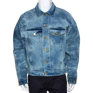 Fear Of God Fifth Collection Indigo Acid Wash Denim Trucker Jacket M