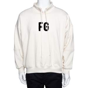 Fear Of God Sixth Collection Cream Cotton Appliqued Mock Neck Sweatshirt S
