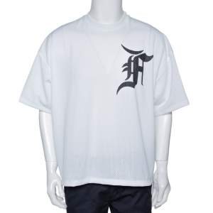 Fear of God Fifth Collection White Mesh Baseball T-Shirt S
