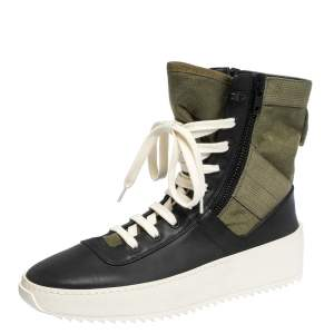 Fear Of God Green/Black Leather and Canvas Jungle High Top Sneakers Size 41