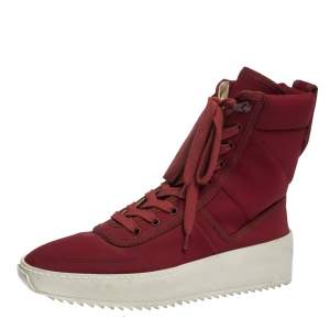 Fear Of God Burgundy Canvas Jungle High Top Sneakers Size 41