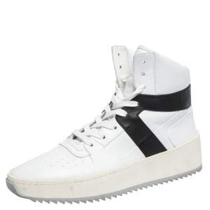 Fear Of God White/Black Leather Basketball High Top Sneakers Size 41