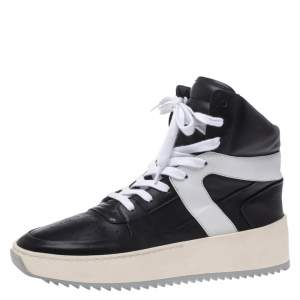 Fear Of God Black/White Leather Basketball High Top Sneakers Size 40