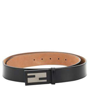 Fendi Black Leather Baguette Belt Size CM 100