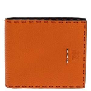 Fendi Orange Selleria Leather Bifold Wallet