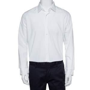 قميص فندي أزرار أمامية قطن أبيض مقاس كبير جداً