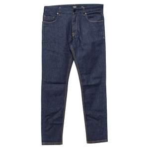 Fendi Navy Blue Denim Camo Pocket Detail Tapered Jeans XS