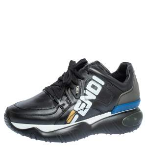 Fendi Black Leather And Rubber Fendi-Fila Mania Logo Low Top Sneakers Size 40