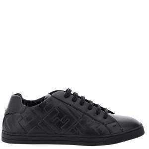 Fendi Black Ff Leather Sneakers Size EU 42